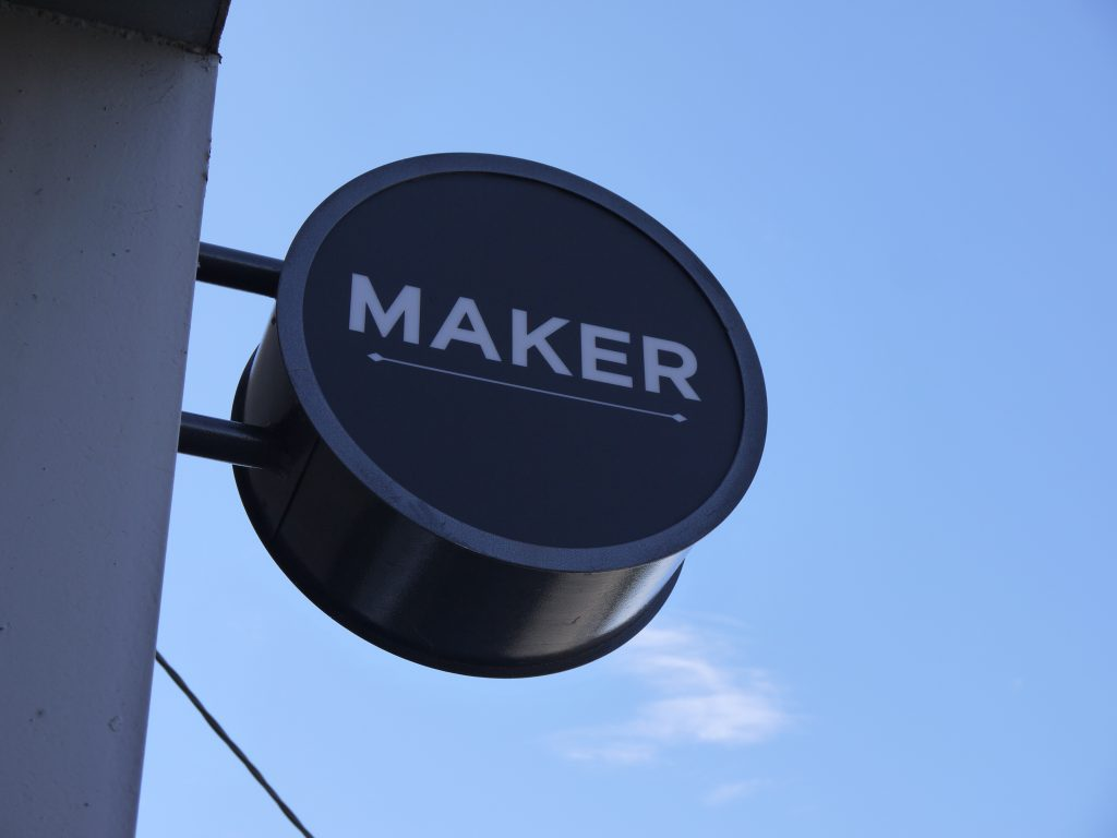 Maker Fine Coffee logo signage