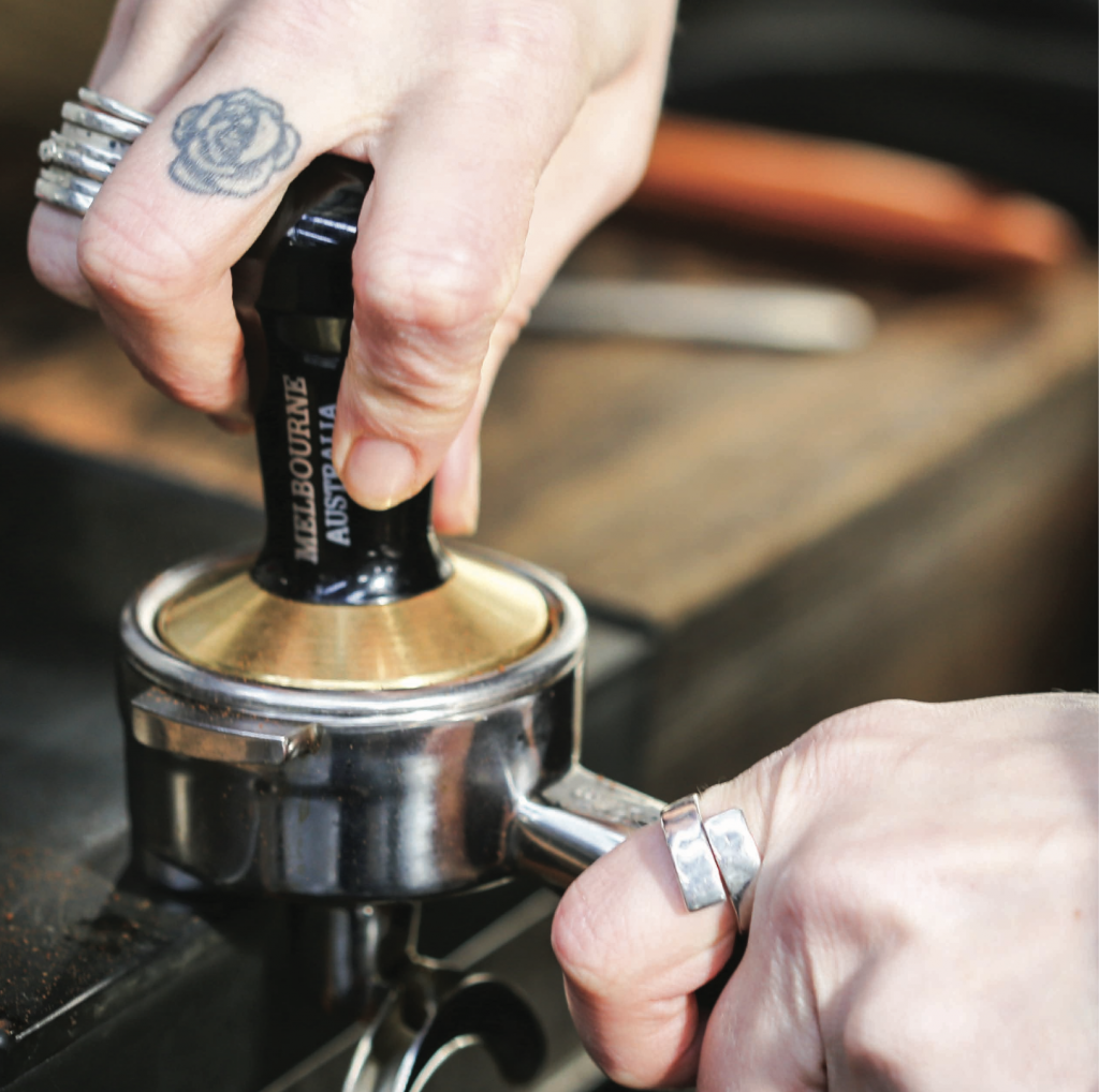 Syndicate Coffee tamp tattoo