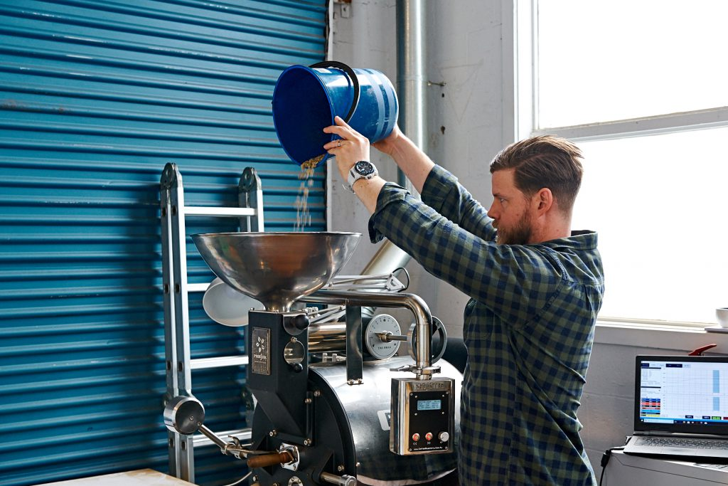 Aucuba Coffee Roasters Mark Knapp roasting