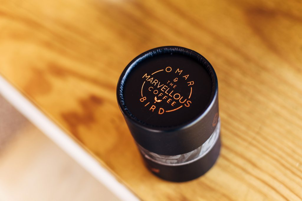 Omar Coffee Bird canister packaging
