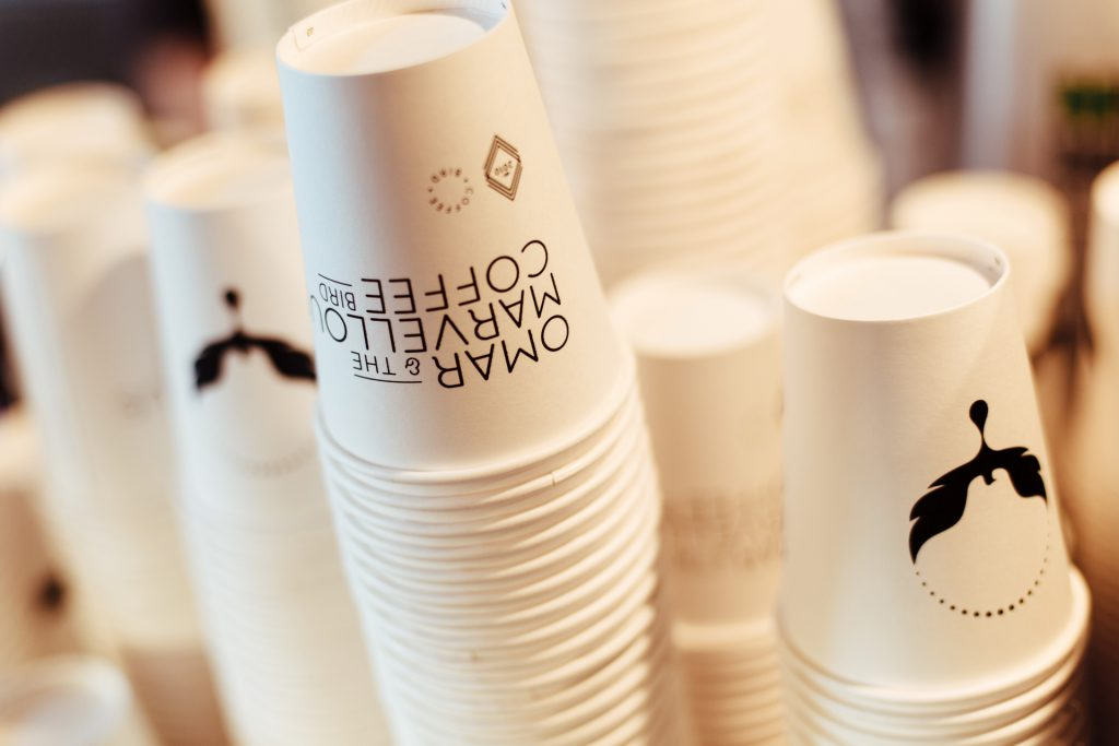Omar Coffee Bird takeaway cups