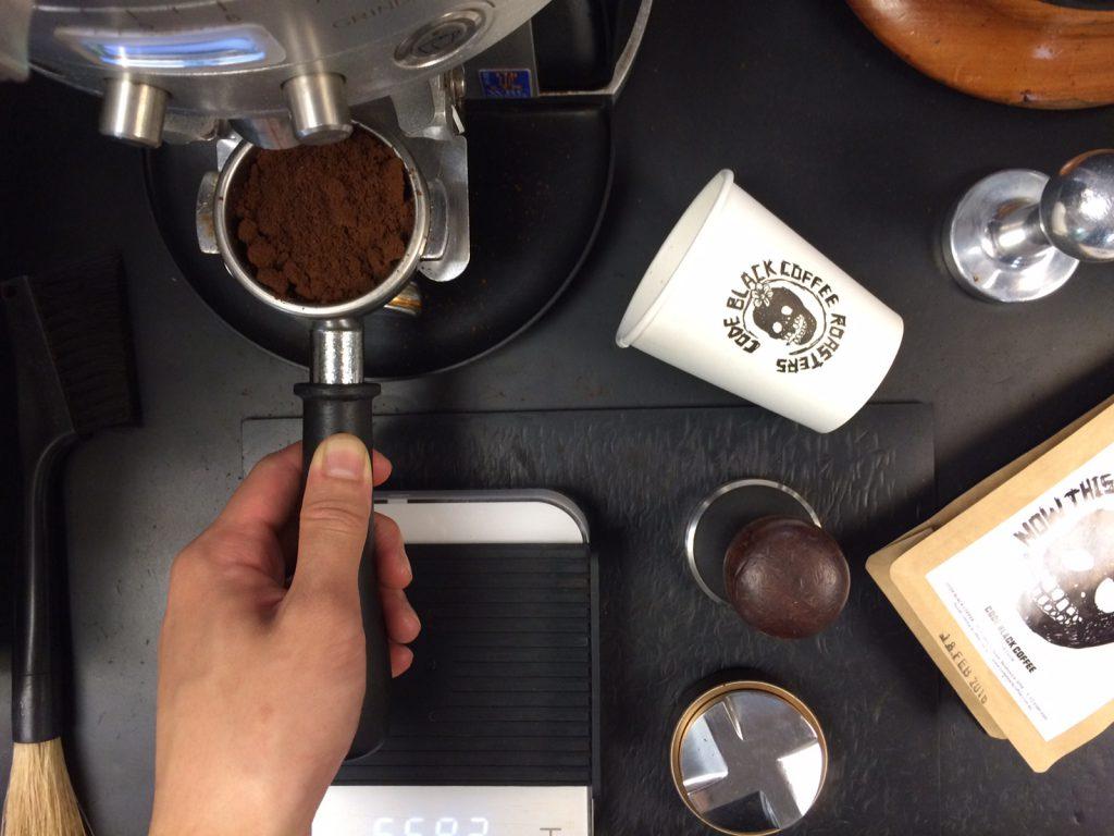 Code Black Coffee Roasters flat lay